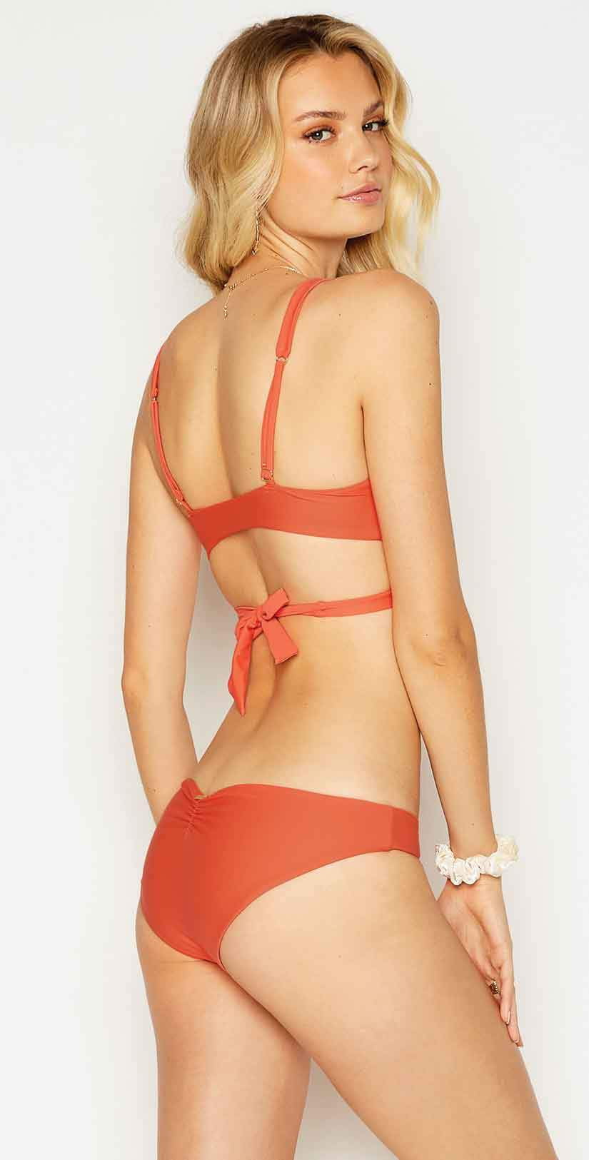 Beach Bunny Stephanie Midi Bikini Bottom in Poppy: