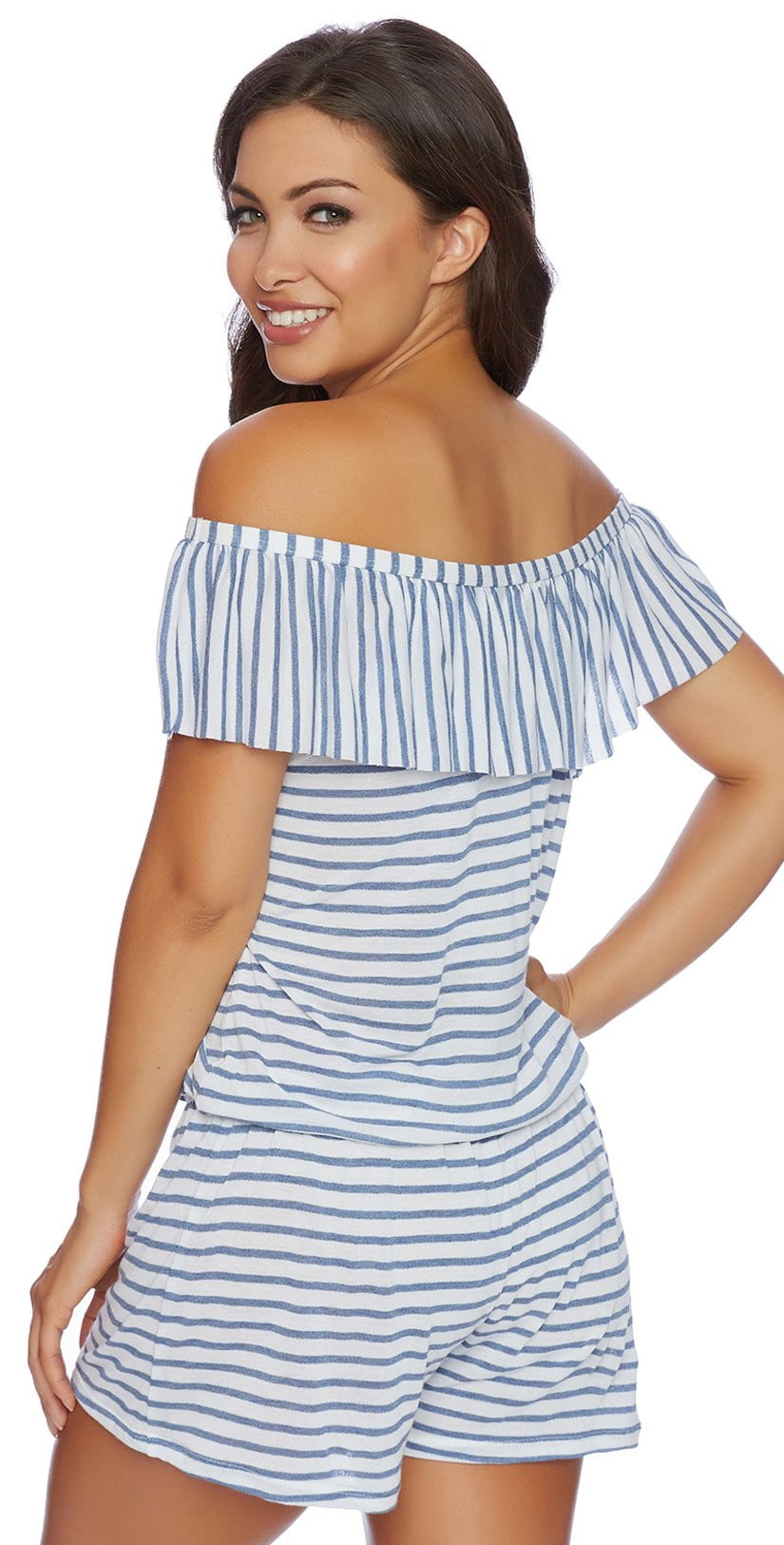 Splendid Chambray All Day Off the Shoulder Romper SP48777-BLU: