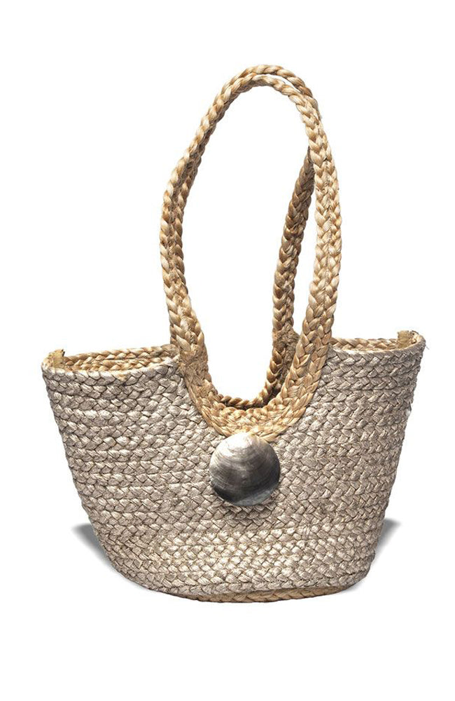 Nikki Beach Saint Barth Metallic Jute Basket Tote