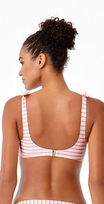 Anne Cole Studio Coral and White Striped Top 18ST13602-COST: