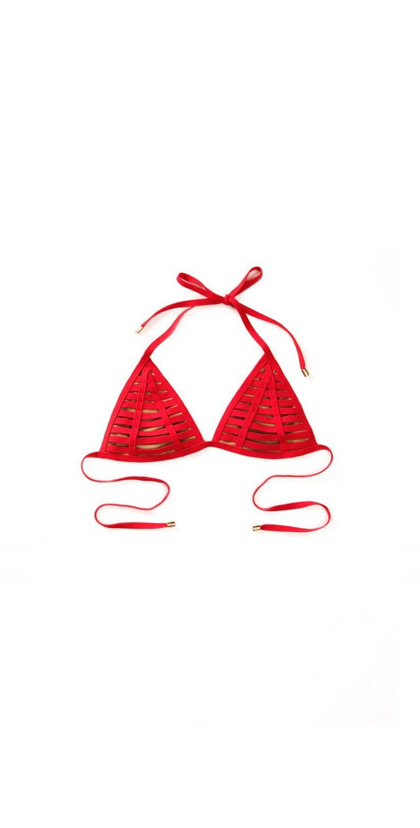 Beach Bunny Triangle Hard Summer Bikini Top In Red B16104T1-REDD top only