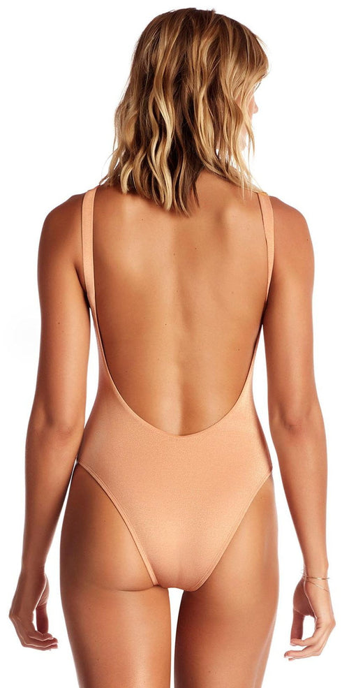 Vitamin A Vitamin A Leah One Piece Bodysuit in Rose Gold Metallic 76M RSG back view