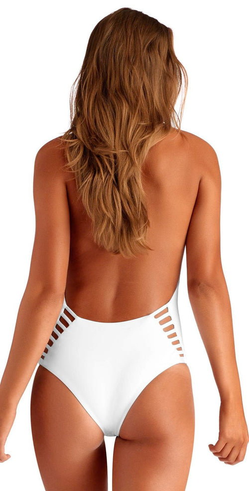 Vitamin A EcoLux Bianca One Piece Bodysuit in White 73M ECW Back View