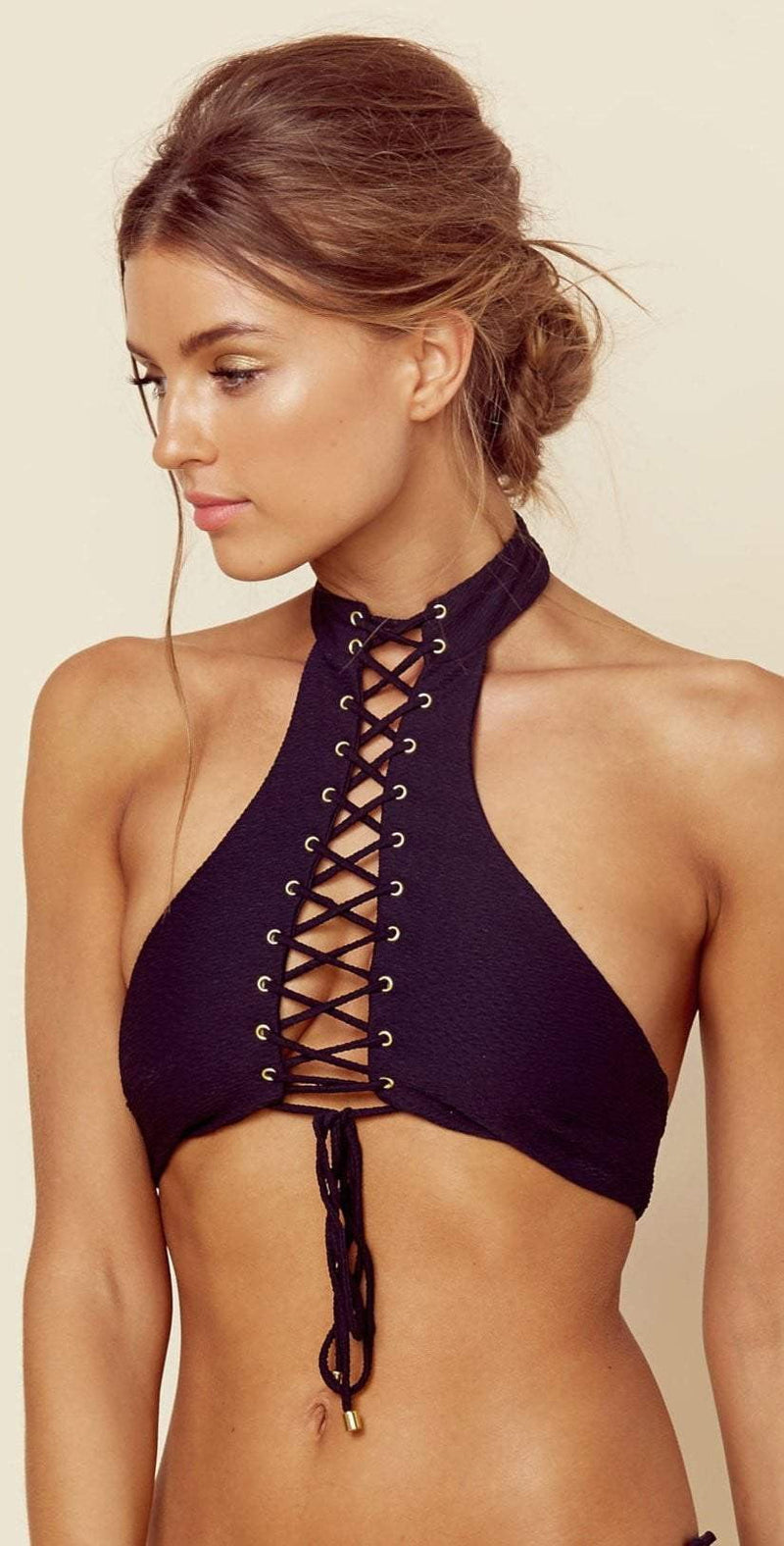 Blue Life Vixen Halter Top In Black 388-2516-BLK: