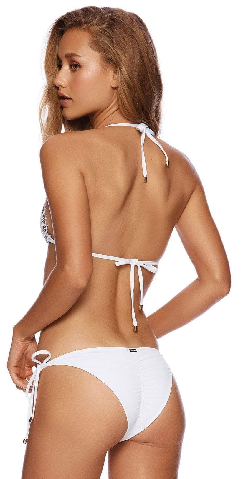 Beach Bunny Wedding Belle Tie Side Bikini Bottom B19127B1 WHTE: