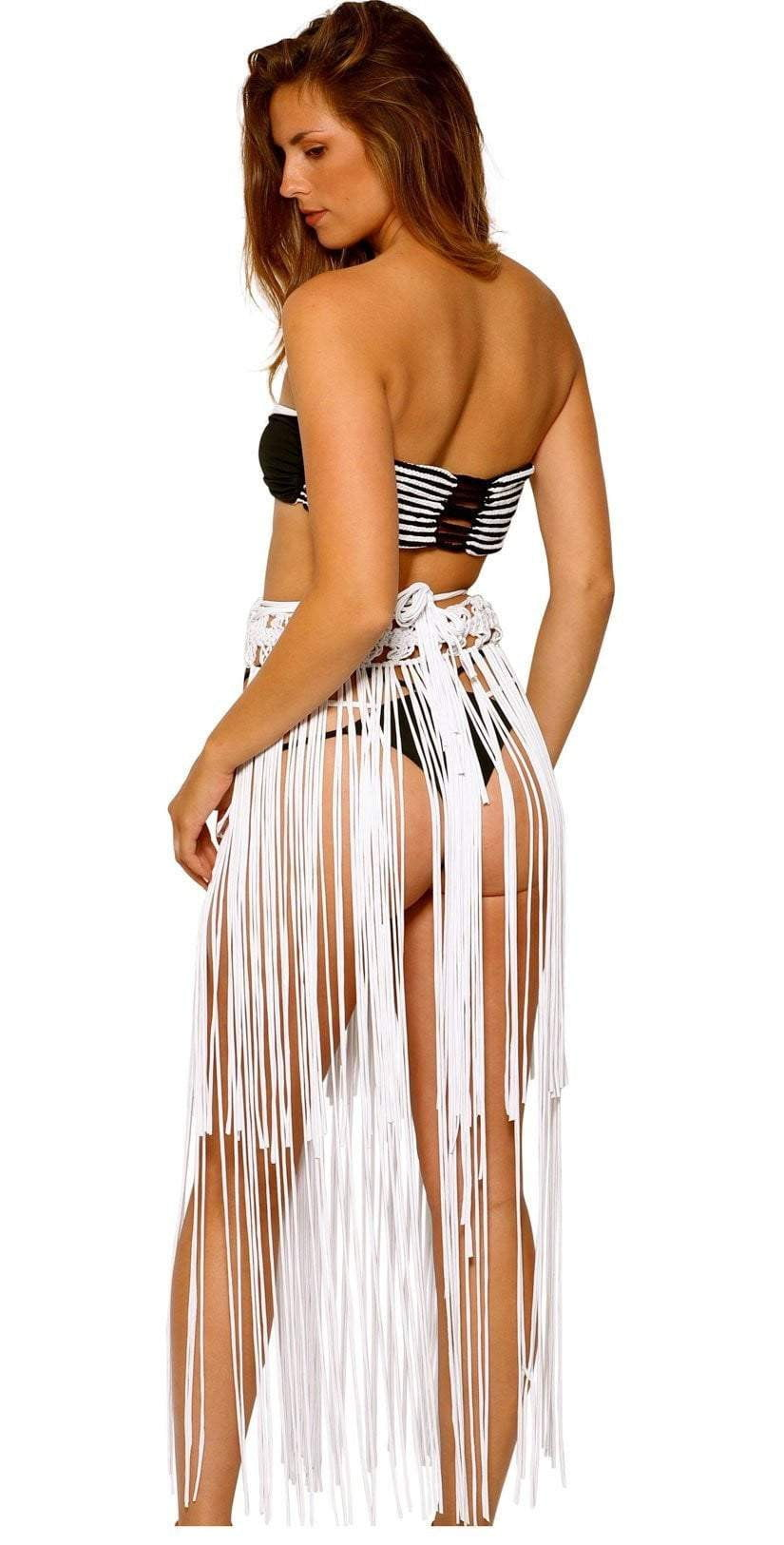 Charmosa Adele Long fringe Skirt AS001  white skirt