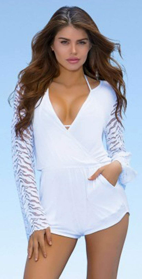 Lady Lux Pillow Talk White Lace Romper LL219RW