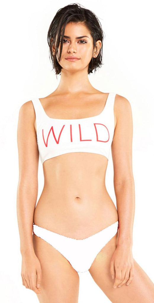 Wildfox Isabelle Bikini Bottom In White S18-014 top and bottom view