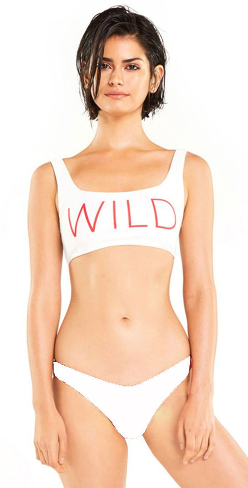 Wildfox Isabelle Bikini Bottom In White top and bottom view