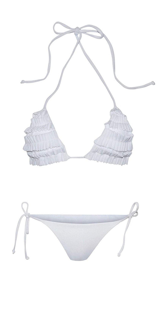Chloe Rose Bloom Bikini In White top and bottom flat lay front view