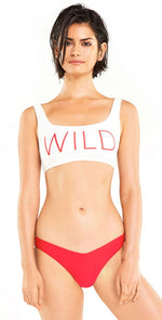 "Wildfox ""Wild"" Bikini Crop Top in White:"