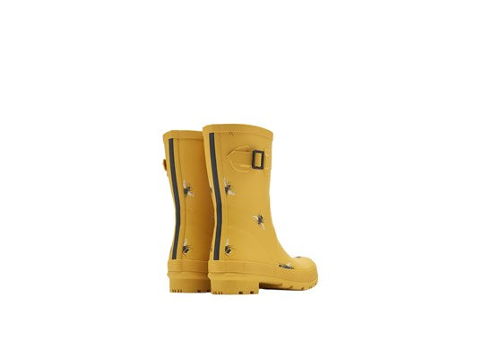 Ladies Molly Welly Mid Height Print Gold with Bee Print