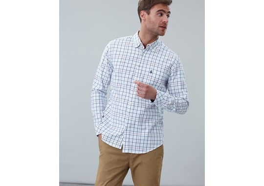 Joules Mens Welford Long Sleeve Classic Fit Check Shirt Chalk Check