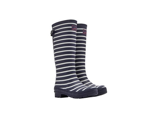 Joules Ladies Welly With Adjustable Back Gusset French Navy Stripe
