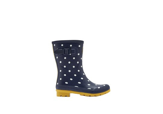 Ladies Molly Welly Mid Height Print French Navy Spot