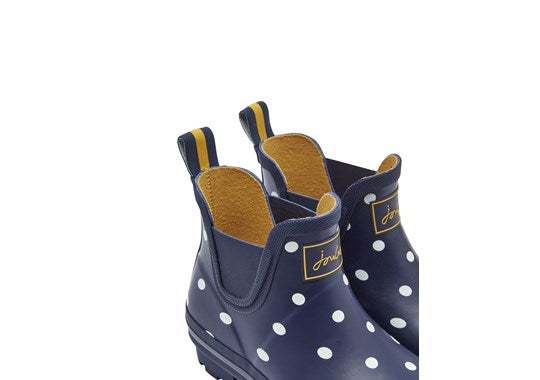 Joules Ladies Wellibob Short Height Printed Welly French Navy Spot