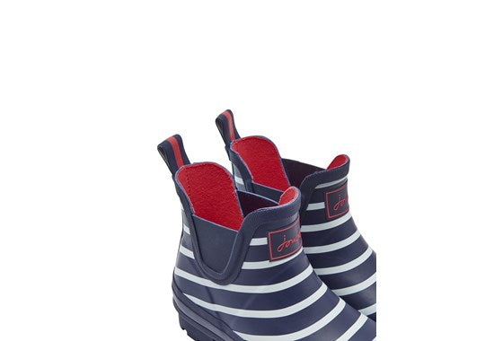 Joules Ladies Wellibob Short Height Printed Welly French Navy Stripe