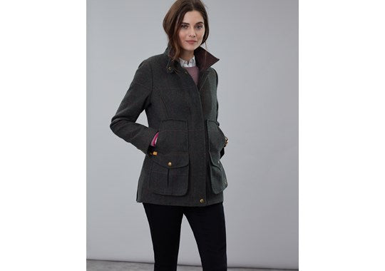 Joules Ladies Fieldcoat Tweed Jacket Dark Green Tweed