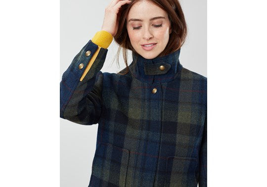 Joules Ladies Fieldcoat Tweed Jacket Green Blue Check
