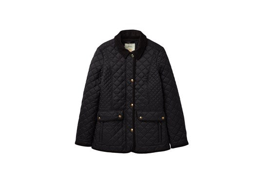 Joules Ladies Newdale Quilted Coat Black