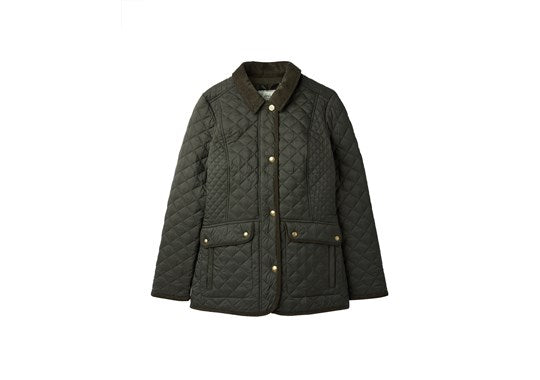 Joules Ladies Newdale Quilted Coat Ever Glade Green