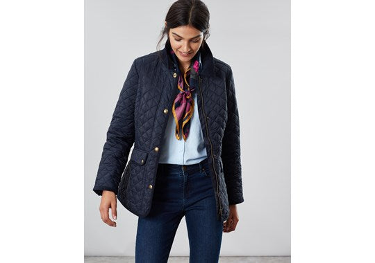 Joules Ladies Newdale Quilted Coat Navy