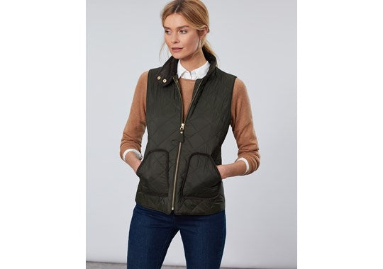 Joules Ladies Brookdale Diamond Quilted Gilet Everglade