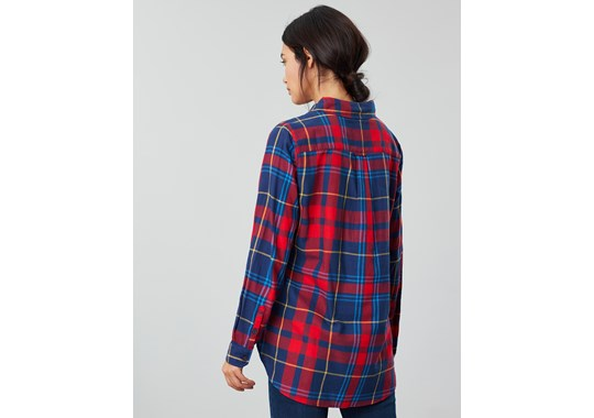 Joules Ladies Lorena Longline Brushed Woven Shirt Red Check