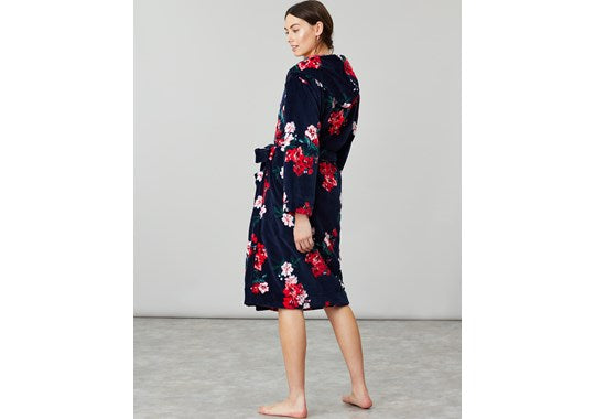 Joules Ladies Rita Fluffy Dressing Gown Navy Floral