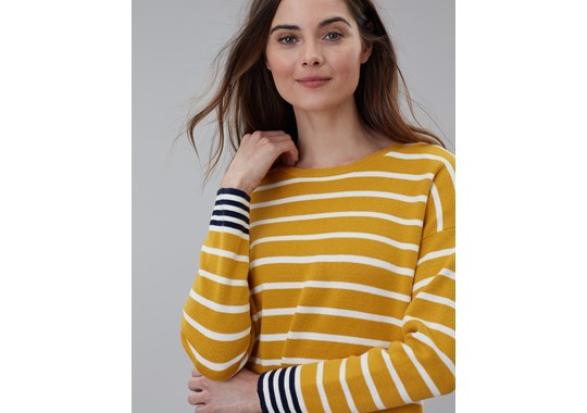 Joules Ladies Uma Boat Neck Jumper Antique Gold