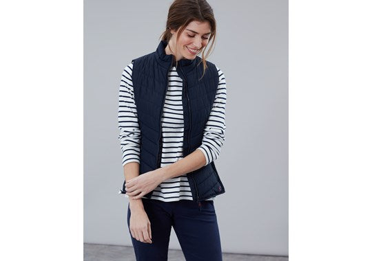 Joules Ladies Fallow Padded Gilet With Funnel Neck Navy