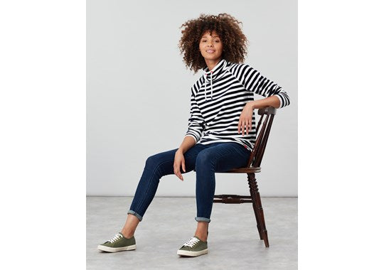 Joules Ladies Mayston Funnel Neck Light Sweatshirt Cream Stripe