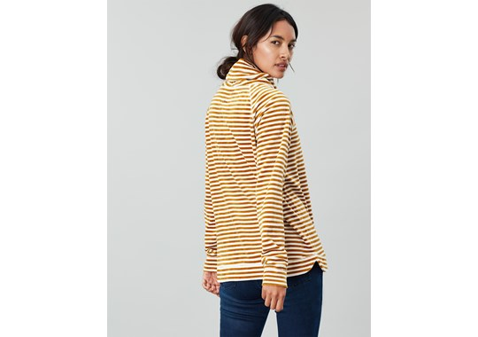 Joules Ladies Mayston Funnel Neck Light Sweatshirt Cream Gold Stripe