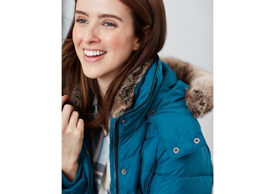 Joules Ladies Cherington Chevron Quilted Longline Padded Coat Dark Teal