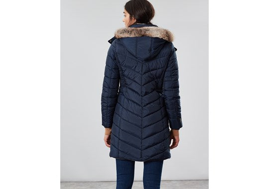 Joules Ladies Cherington Chevron Quilted Longline Padded Coat Navy