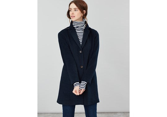 Joules Ladies Costello Wool Blend Easy Coat Navy