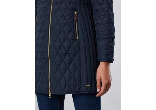 Joules Ladies Chatham Longline Diamond Quilted Puffa Jacket Navy
