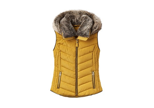 Joules Ladies Maybury Chevron Quilt Padded Gilet With Hood Caramel