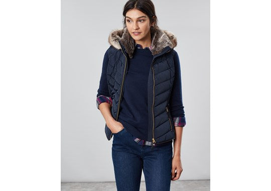 Joules Ladies Maybury Chevron Quilt Padded Gilet With Hood Navy