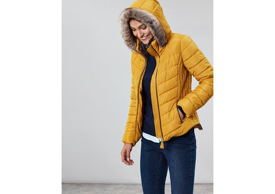 Joules Ladies Gosway Chevron Quilt Padded Jacket With Hood Caramel