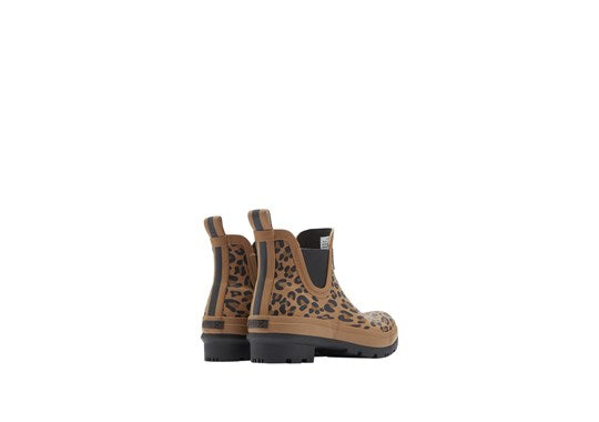 Joules Ladies Wellibob Short Height Printed Welly Tan Leopard Print