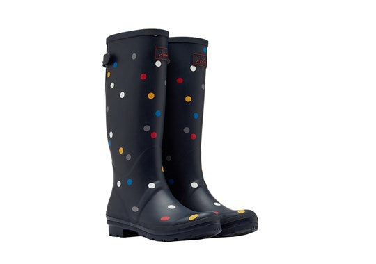 Joules Ladies Print Welly With Adjustable Back Gusset Navy Multi Spot