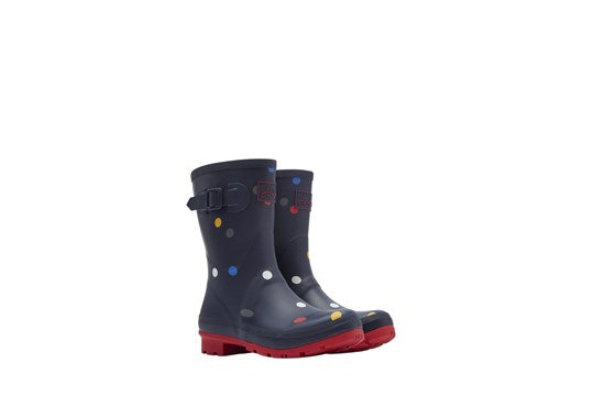 Ladies Molly Mid Height Printed Welly Navy Multi Spot