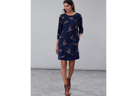 Joules Ladies Daisy Boat Neck Woven Dress Pheasant Print