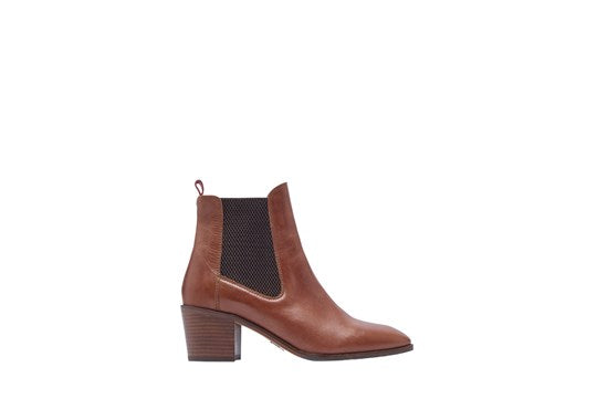 Joules Ladies Hartford Heeled Leather Boot Tan