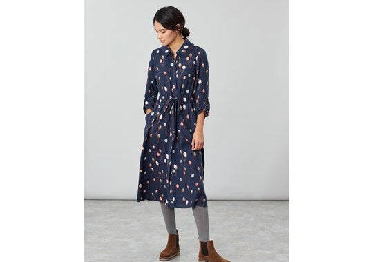 Joules Ladies Briony Long Sleeve Button Front Shirt Dress Navy Teasel