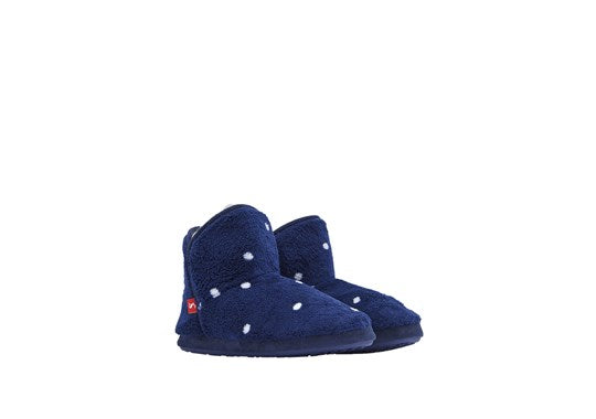 Joules Ladies Cabin Bootie Slipper Hard Soles Navy Multi Spot