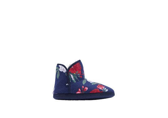 Joules Ladies Cabin Bootie Slipper Hard Soles Navy Floral