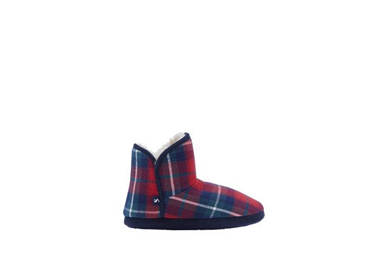 Joules Ladies Cabin Bootie Slipper Hard Soles Red Check