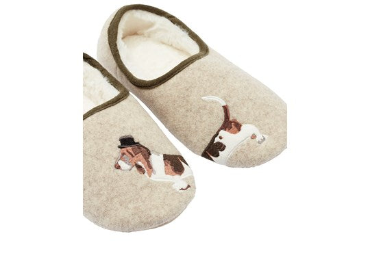 Joules Ladies Slippers Felt Character Mule Cream Dog